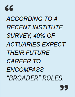 ACCORDING TO A RECENT INSTITUTE SURVEY, 40% OF ACTUARIES EXPECT THEIR FUTURE CAREER TO ENCOMPASS 'NON-TRADITIONAL' ROLES.